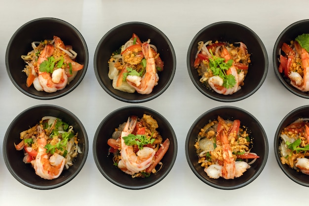 Snack bowls with shrimp at restaurant buffet