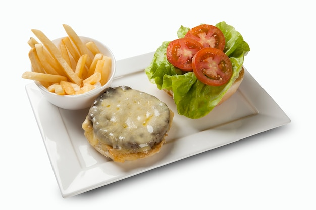 Snack burger with fries and salad. white space.