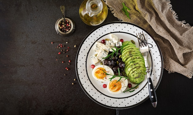 Snack or healthy breakfast  - plate of blue cheese, avocado, boiled egg, olives