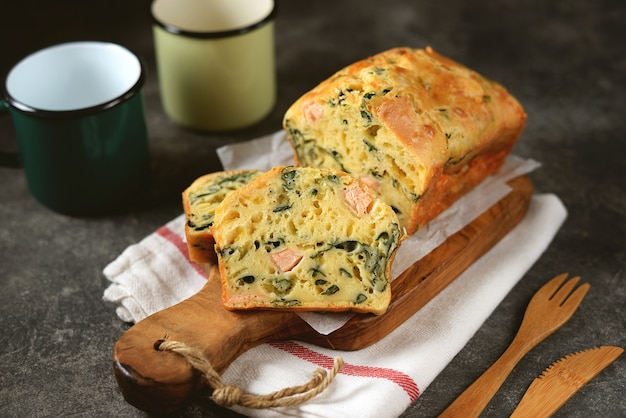 Snack pie with salmon, spinach and cheese. delicious homemade cakes.