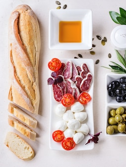 Snack with olives and bread