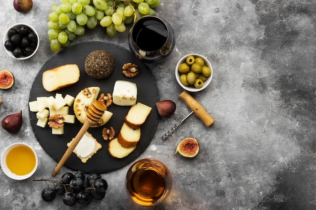 Snacks with wine