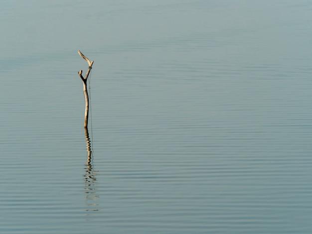 水の背景と朝の湖で漁師のボートのための引っ掛かりとロープ