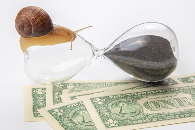 Snail crawls on an hourglass against the surface of money. speed and stability in increasing income.