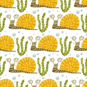 달팽이 수채화 원활한 패턴 흰색 바탕에 바다 친구 배경