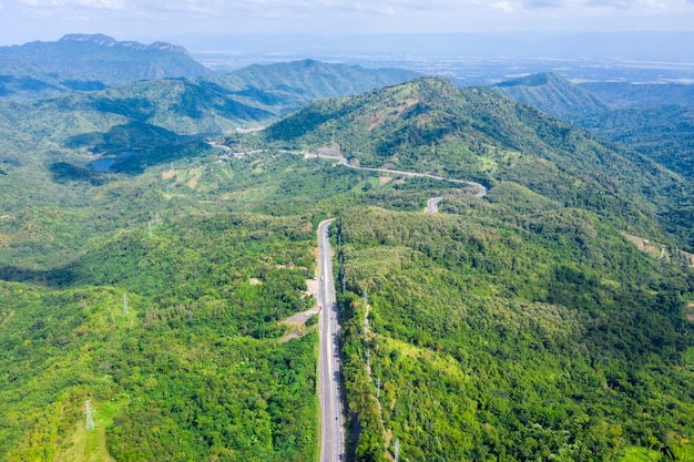 Snake road freeway no.12 connecting the city on the green mountain peak in thailand