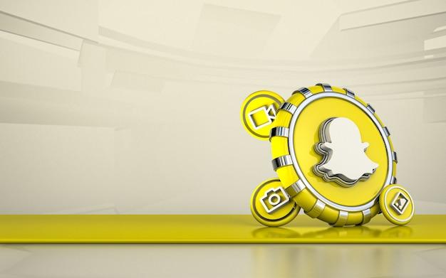 Snapchat 3d-рендеринга значок социальных сетей изолированный фон