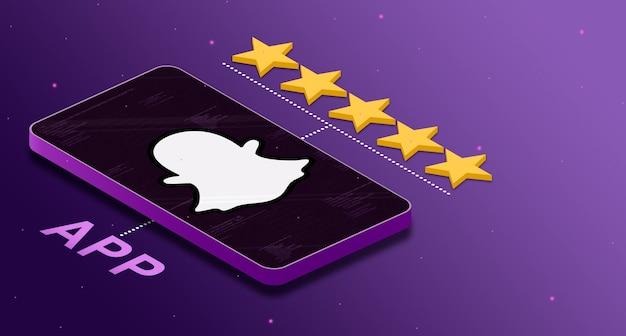 5 성급 3d 등급의 전화에 snapchat 애플리케이션 로고