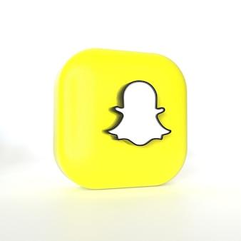 3dレンダリングを備えたsnapchatアプリケーションのロゴ