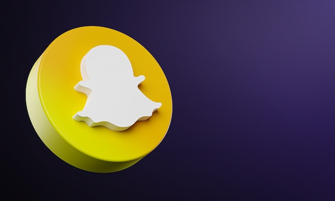 Snapchat circle button icon 3d with copy space