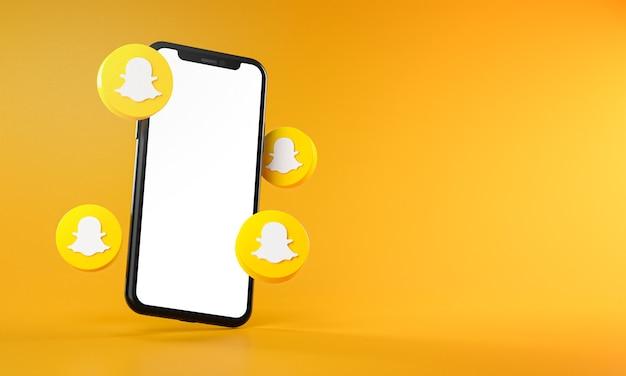 Иконки snapchat вокруг приложения для смартфона 3d-рендеринг