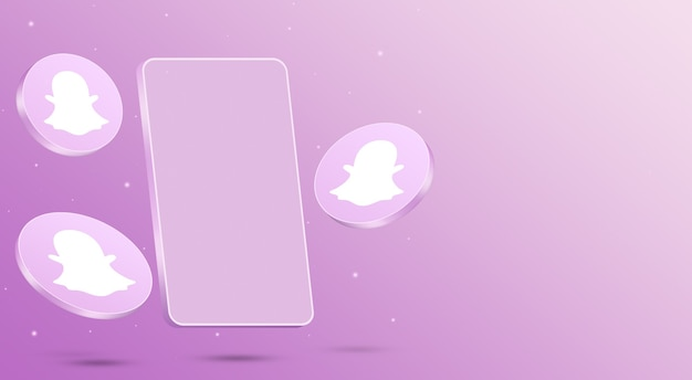 휴대 전화 3d 렌더링 snapchat 아이콘