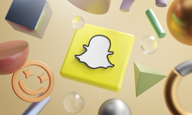 Snapchat logo around 3d rendering abstract shape background