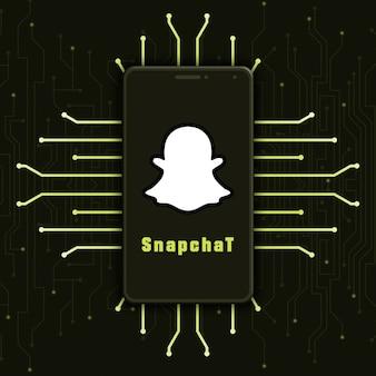 기술 배경 3d에 전화 화면에 snapchat 로고 아이콘