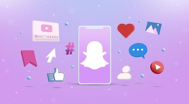 Значок логотипа snapchat на телефоне с значками социальных сетей вокруг 3d