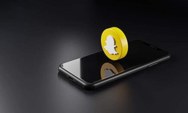 Значок логотипа snapchat над смартфоном, 3d-рендеринг