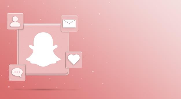 Значок логотипа snapchat с активностью 3 в социальных сетях
