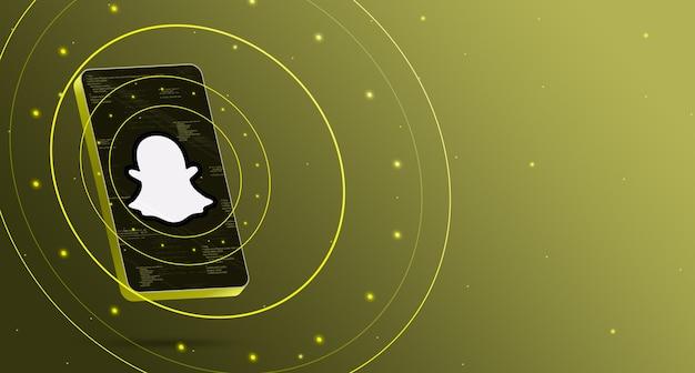 技術的なディスプレイ、スマートな3dレンダリングを備えた電話のsnapchatロゴ