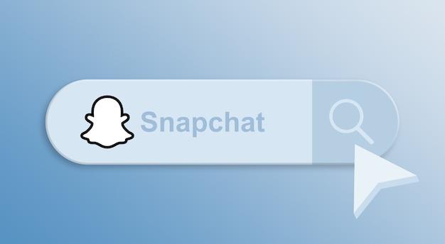 Snapchat на панели поиска с курсором мыши 3d