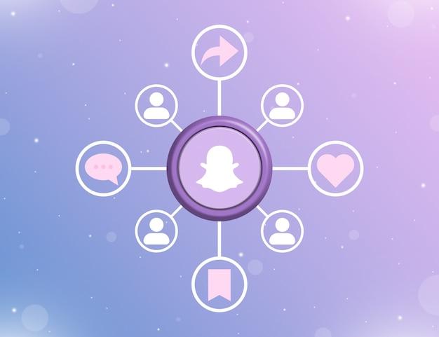Логотип snapchat в социальных сетях на круглой кнопке с типами социальных действий и значками пользователей 3d