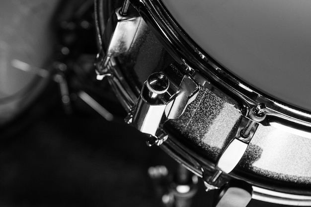 Snare drum in black background