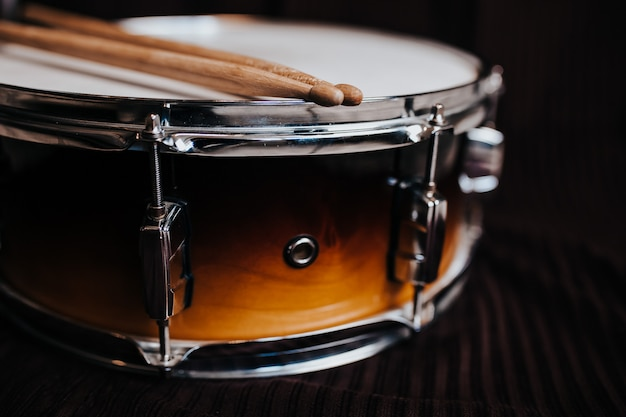 Snare drum on the dark background