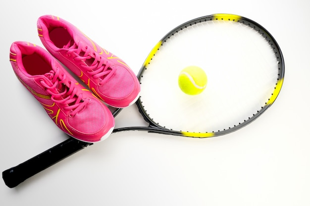 Sneakers itenis racket on a white background