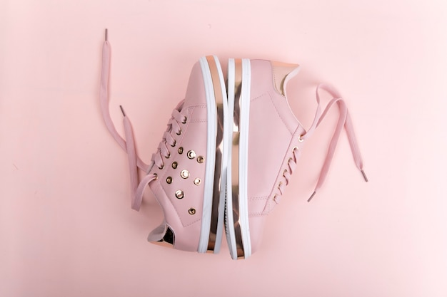 Sneakers on a pink background