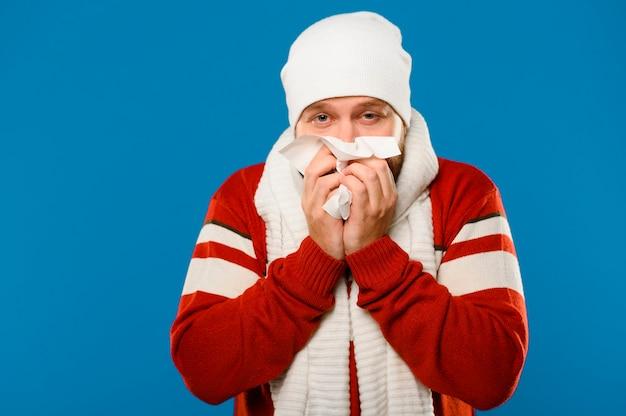 Sneezing winter model medium shot