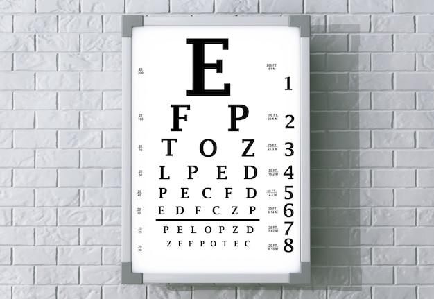 Тест-бокс для диаграммы snellen eye chart перед кирпичной стеной. 3d рендеринг