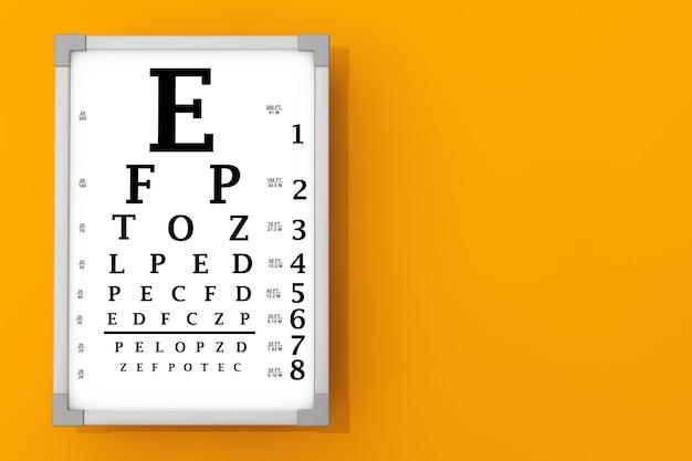 Коробка для тестирования snellen eye chart перед оранжевой стеной. 3d рендеринг