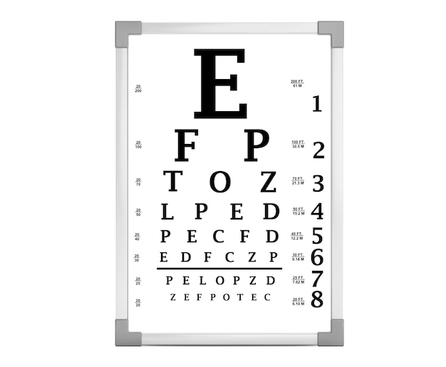 Тестовый бокс для диаграммы глаз snellen на белом фоне. 3d рендеринг
