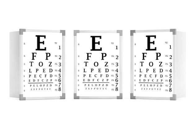 Тестовые коробки диаграммы глаза snellen на белой предпосылке. 3d рендеринг