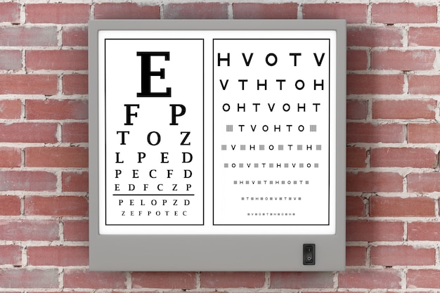 Световой короб для теста snellen eye chart перед кирпичной стеной. 3d рендеринг