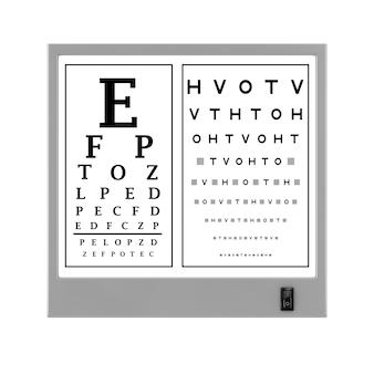 Световой короб теста диаграммы глаза snellen на белой предпосылке. 3d рендеринг