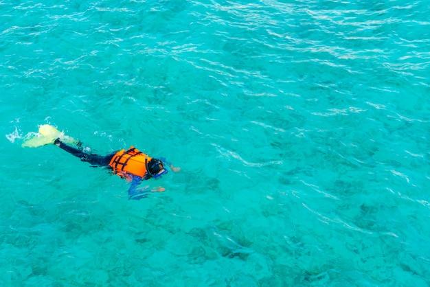熱帯のモルディブ島でシュノーケリング。