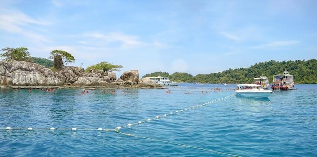 Snorkeling at koh yak yai in koh chang area, thailand.