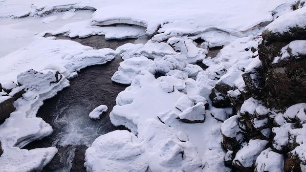 凍った川に沿って雪が降る