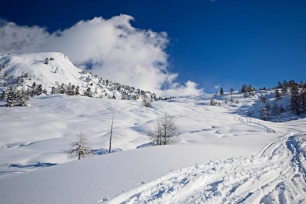 Snow on the alps in winter, scenic landscape