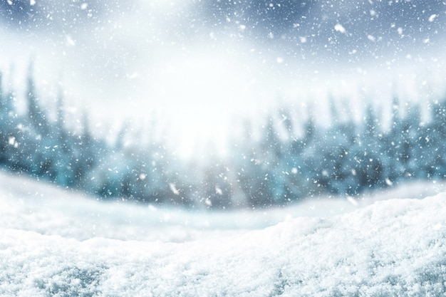 Снежный фон и дерево