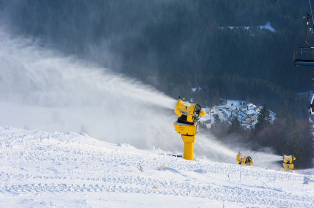 Snow cannon in action at ski resort