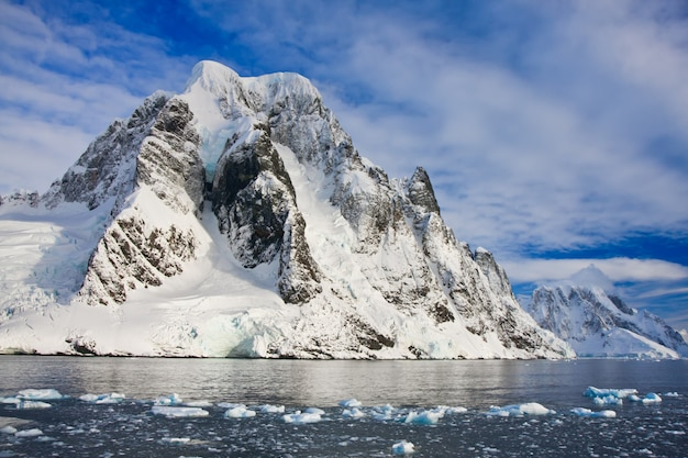 Snow capped mountains in antarctica