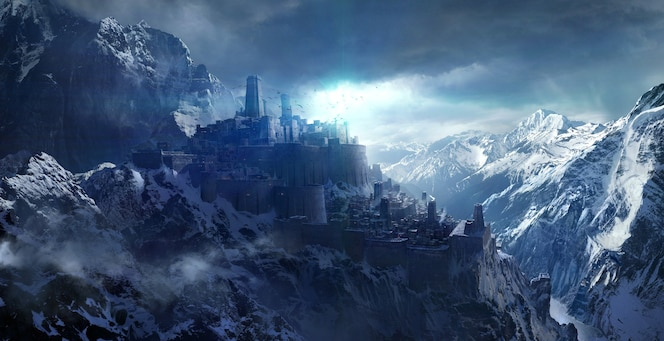 Montagne innevate tra il castello, rendering 3d.