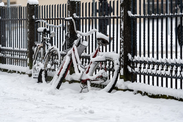 Snow covered bicycles are parked and locked to a fence on the sidewalk in wintry city