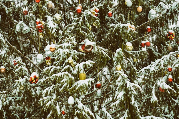Snow-covered christmas tree with decorations