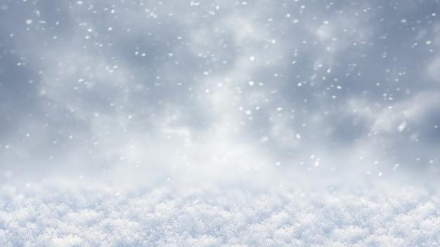 降雪時の雪に覆われた地面と曇り空