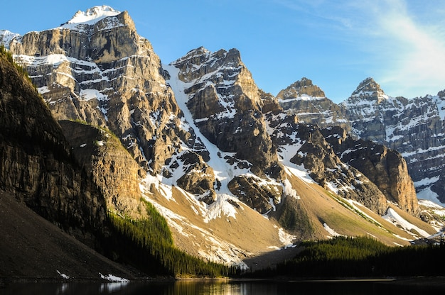 Snow-covered mountain peaks near the moraine lake in canada