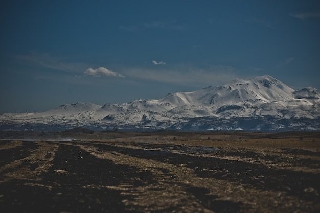 Snow-covered mountains in the turkish region of capaddocia.