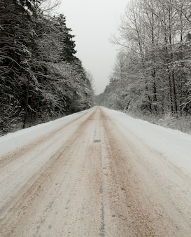 冬の雪道。クローズアップ写真