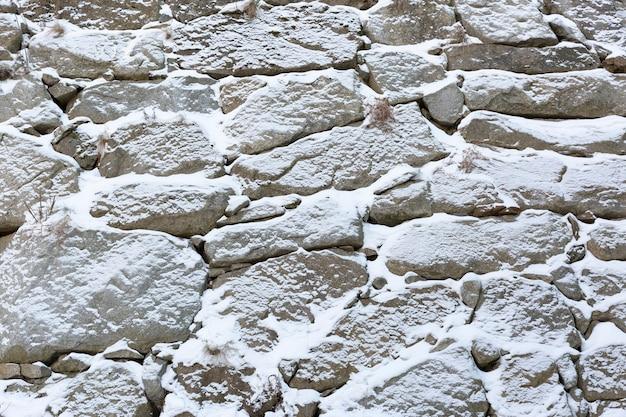 겨울에 눈 덮힌 바위 벽